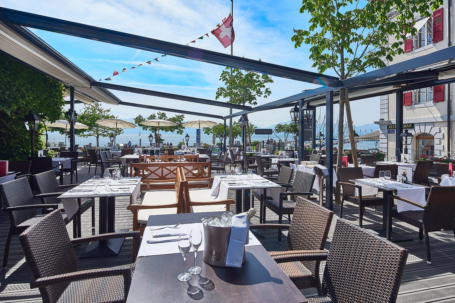 RESTAURANT in MORGES mit TERRASSE am SEE - HOTEL MORGES ...